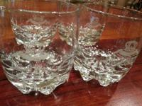 4 Crown Royal Italy High Low Ball Round Glasses Glass