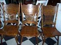 4 Double Pressback Medium Oak Side Chairs. In Good