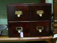 Miniature filing cabinet or card catalogue in handsome