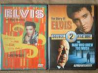 4 Elvis DVD's/1 VHS and collectors knife. DVD's include