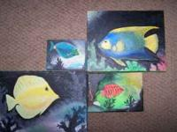 Cute fish paintings I did for our colorful bathroom.