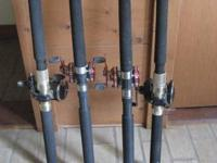 4 BOAT FISHING RODS,2 PENN 320LD'S ON TICA RODS  2