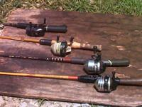 4 fishing rods and reels,(zebco one),zebco