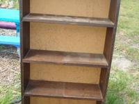 Sturdy wood shelf with 4 shelves, and the top can hold