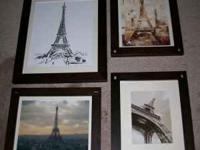 Eiffel Tower Art Prints Set of 4 professionally framed