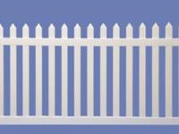 Beautiful vinyl light beige picket fence, available. I