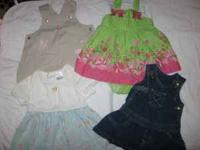 1 jean overall dress, 1 light blue and white dress with