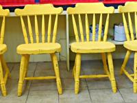 4 Gorgeous Sunlight Yellow Shabby Chic Dining Chairs.