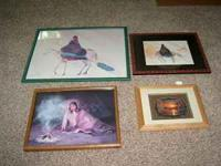 This is a lot of 4 Native American Framed Pictures. In