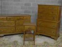 you are looking at a solid rock maple bedroom set made
