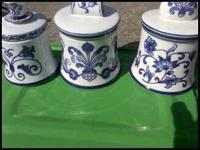 4 Piece Dutch Delft Set. Use for home decor or as