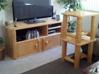 Custom knotty pine entertainment center, 2 end tables