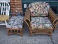 Very nice 4 piece wicker set. Couch, Chair, ottamn and