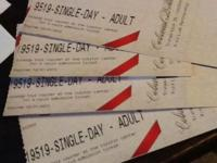 These are 4 single day tickets to Williamsburg VA they