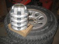 FOUR GOODYEAR WRANGLER AT/S USED TIRES WITH OEM STEEL