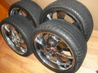 "(4) Velocity 20""x8-1/2"" Chrome Rims and Tires (tire"