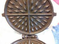 #4. Vintage Cast iron waffle maker. Elongated Diamond