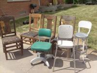 4 straight back wood chairs, over 50 years old, they