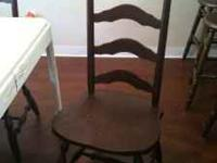 4 wooden chairs shabby chic/cottage chippy paint a bit