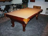 4 X 8 Pool Table, 3 piece slate, beige felt surface,