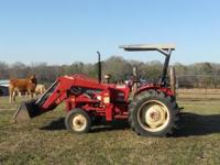 Mahindra 40 hp with front end loader. 1128 hrs.Super