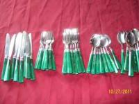 40 pc set of green silverware very good condition none