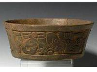 Fine Mayan carved brownware bowl, most likely from