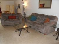The couch and love seat are microfiber, easy to clean