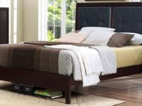 Platform king size faux leather bed with mattress and - King size bedroom sets in atlanta ga ...
