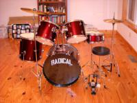 This is a brand new red Radical 5 piece drum set.It has