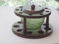 Vintage 9 pipe wood stand/holder with a built-in green
