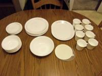 set of corelle/corning dishes, 41 pieces  12 large