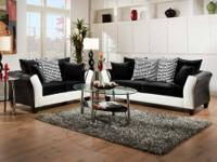 4173 Black & White Sofa Group Covered in a soft