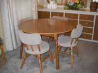 "42"" round table and 4 chairs plus two 11 1/2"" wide X"