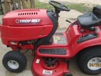 "This Troy bilt riding mower has a 42"" deck with a 19hp"