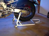 "Used Swingarm race stand w/ ""L"" style brackets (as in"