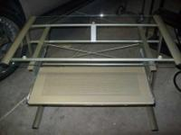 MODERN GLASS COMPUTER DESK WITH PULL OUT METAL DRAWER /