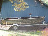 For sale a 16' deep v bottom with trailer. Boat is very