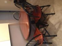 Beautiful solid cherry wood kitchen table with a set of