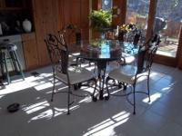 Solid Wrought Iron Dining Set, Glass Top Table and Four