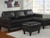 - All in one sectional sofa with Ottoman- Faux Leather