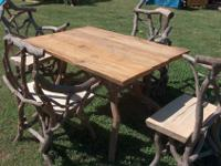 This is a beautiful handcrafted rustic dinette set made