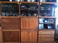 Solid Oak Lighted 3 peice wall unit. Each piece is the