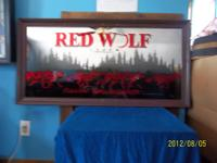 1994 Red Wolf Lager Back Bar Mirror Follow Your