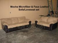 "Mocha Microfiber & Faux Leather Sofa/Loveseat set ""Made"
