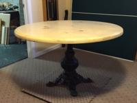 48 Inch Pine Table With Glass Top. Antique Wrought