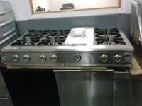 "Gently Used 48"" Stainless Steel Rangetop W/6 Burners &"