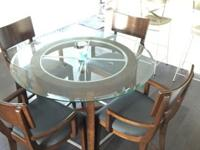 Like New Round Dining Table with Glass Top and 4