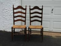 TWO LADDER BACK RUSH SEAT CHAIRS Two ladder back chairs