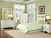 Set includes a queen/full headboard, rails, nightstand,